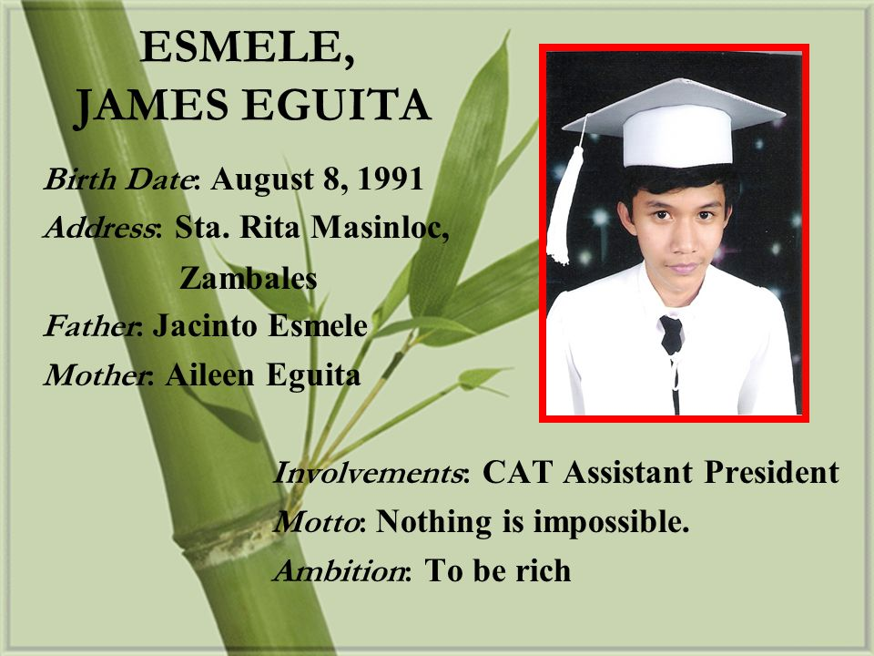 ESMELE, JAMES EGUITA Birth Date: August 8, 1991