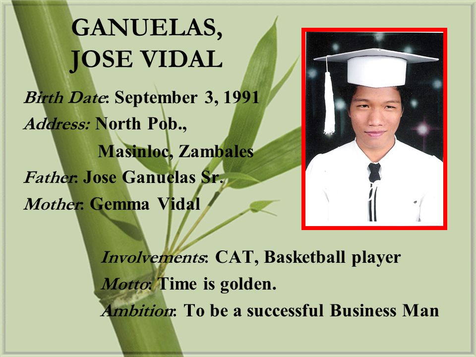 GANUELAS, JOSE VIDAL Birth Date: September 3, 1991