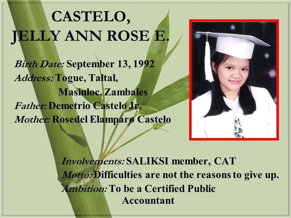 CASTELO, JELLY ANN ROSE E.