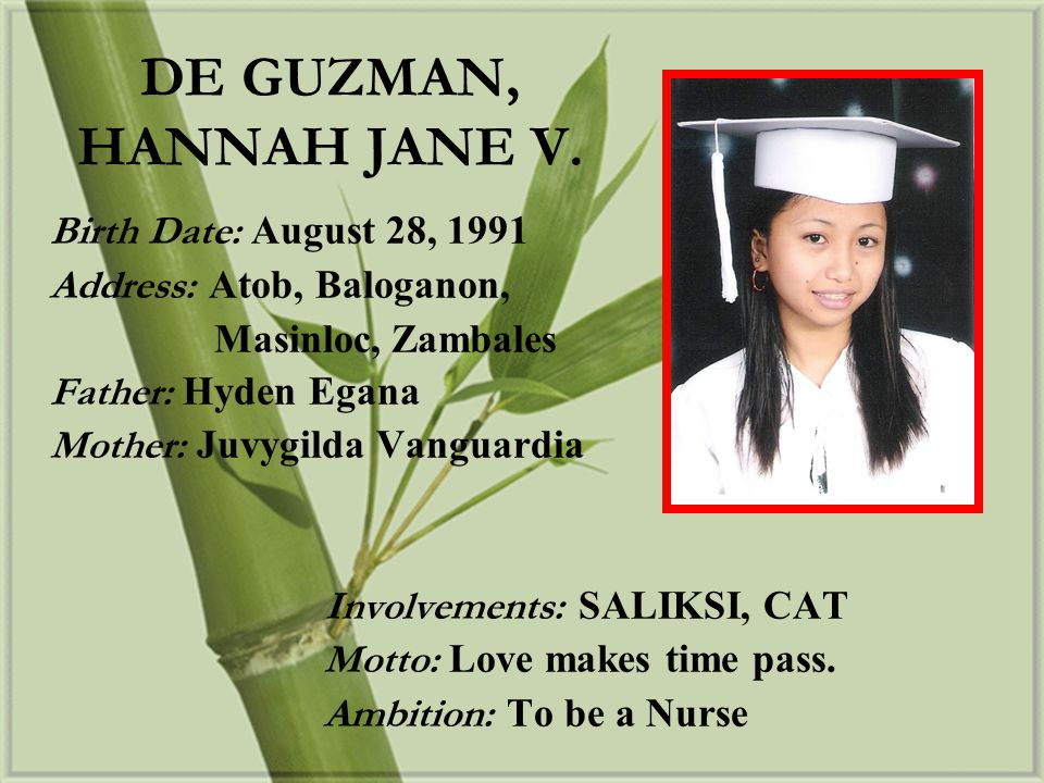 DE GUZMAN, HANNAH JANE V. Birth Date: August 28, 1991