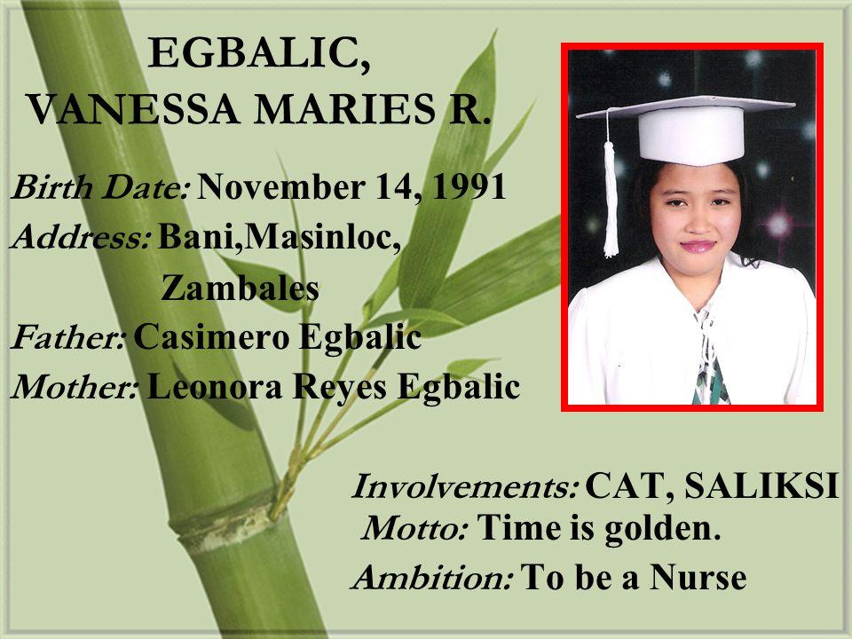 EGBALIC, VANESSA MARIES R.