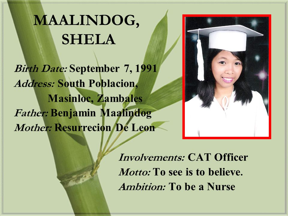 MAALINDOG, SHELA Birth Date: September 7, 1991