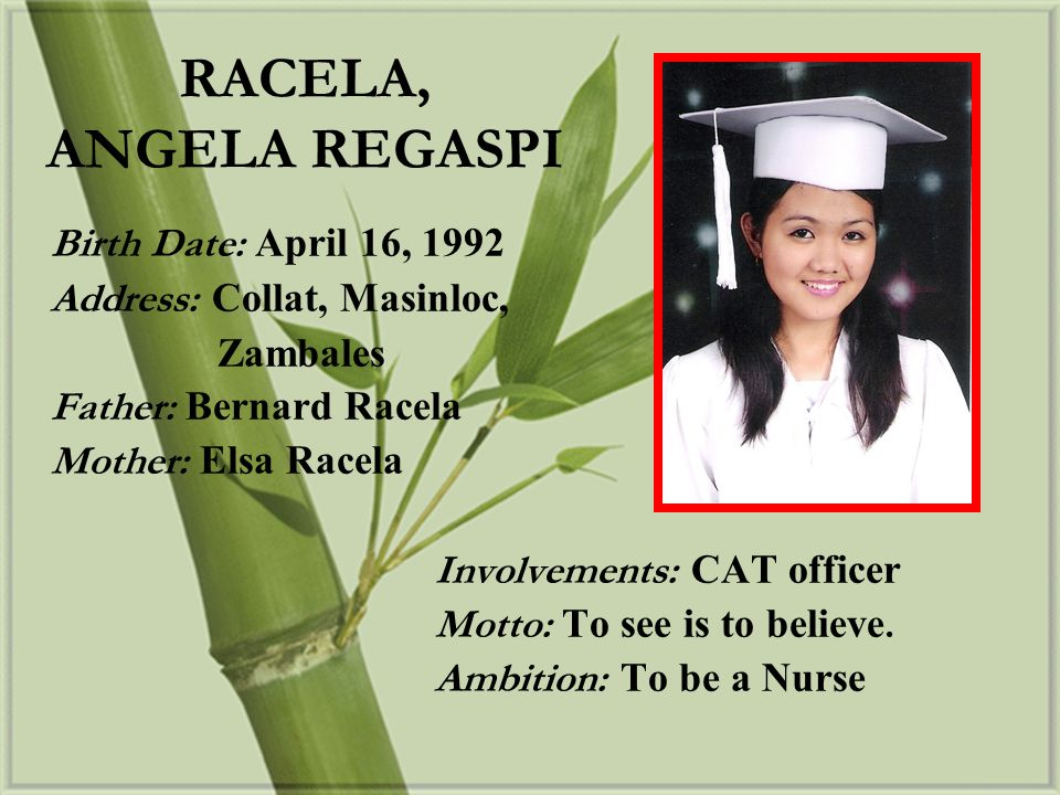 RACELA, ANGELA REGASPI Birth Date: April 16, 1992
