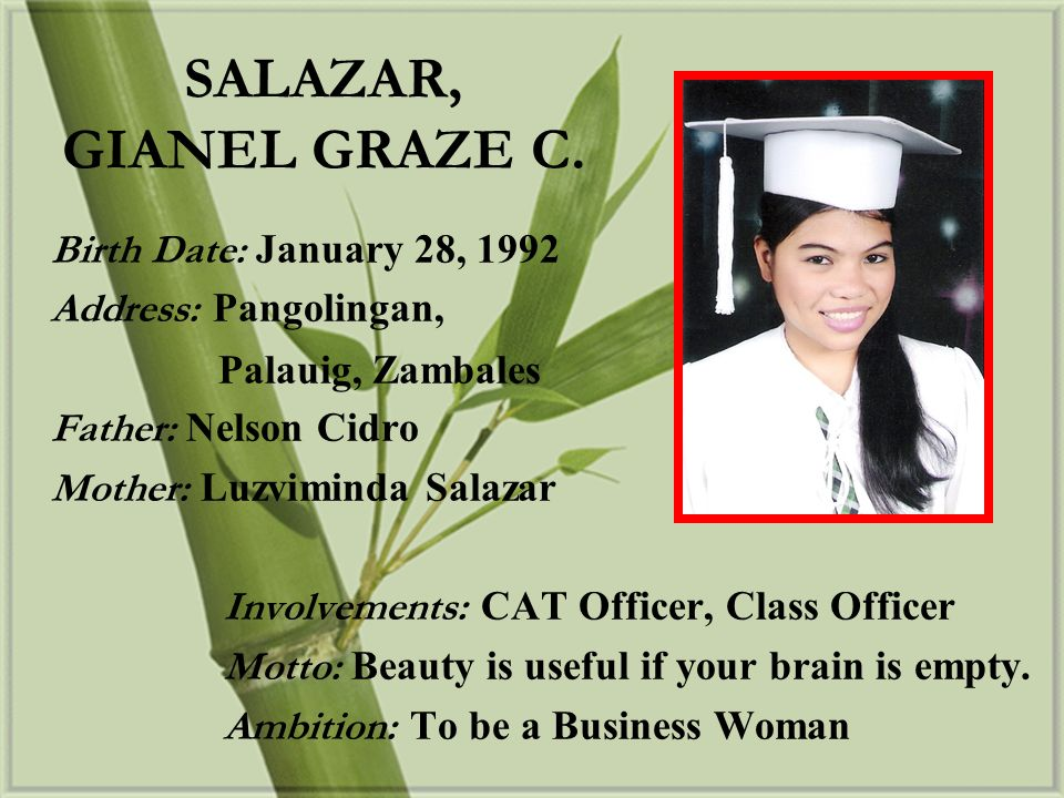 SALAZAR, GIANEL GRAZE C. Birth Date: January 28, 1992