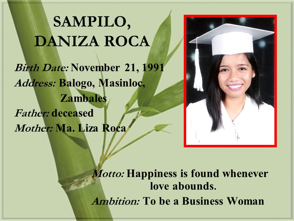 SAMPILO, DANIZA ROCA Birth Date: November 21, 1991