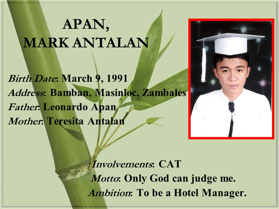 APAN, MARK ANTALAN Birth Date: March 9, 1991