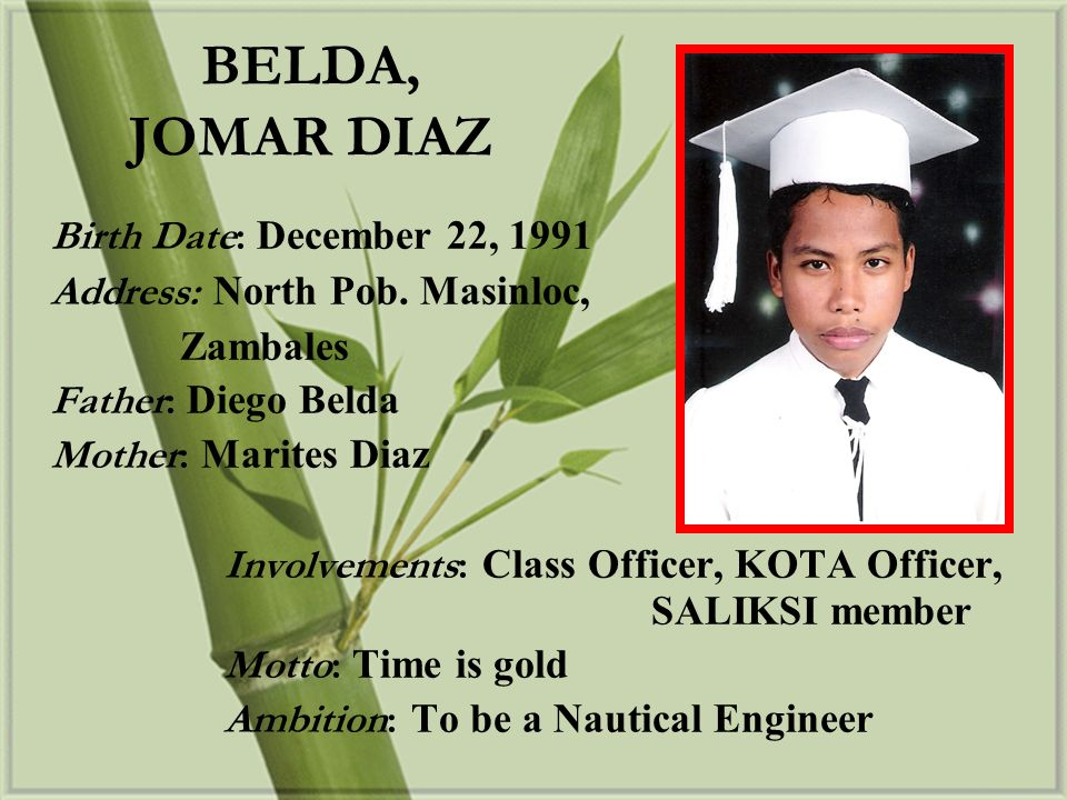BELDA, JOMAR DIAZ Birth Date: December 22, 1991