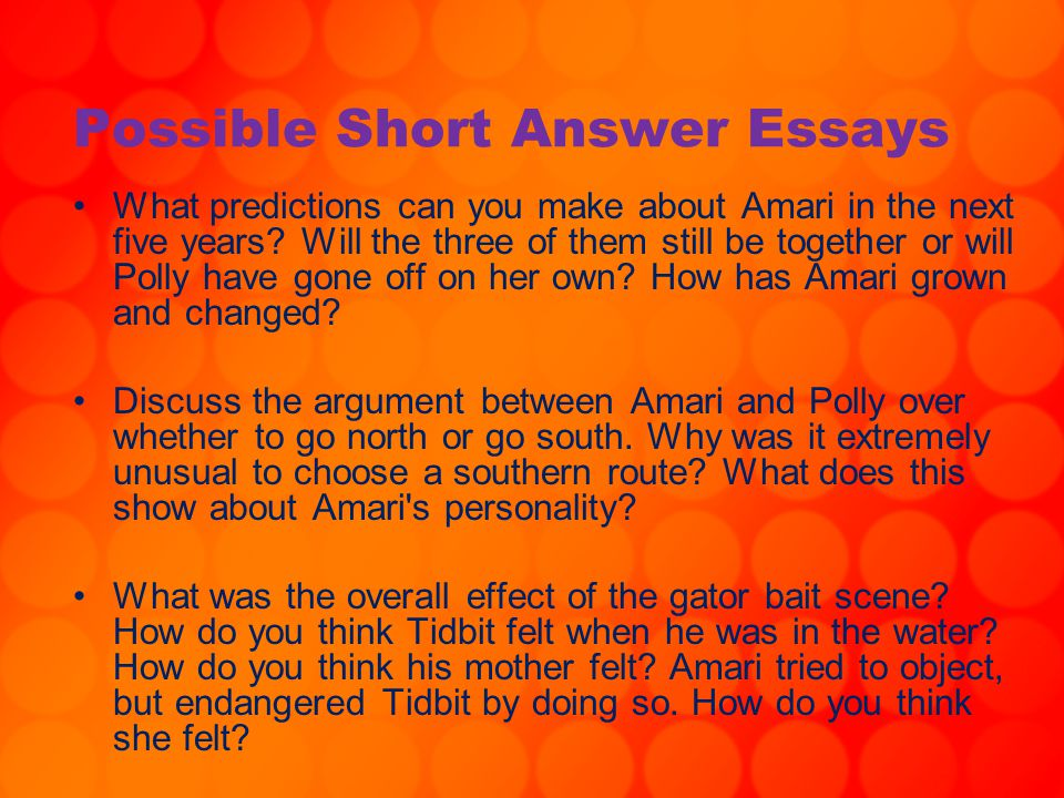 Possible Short Answer Essays