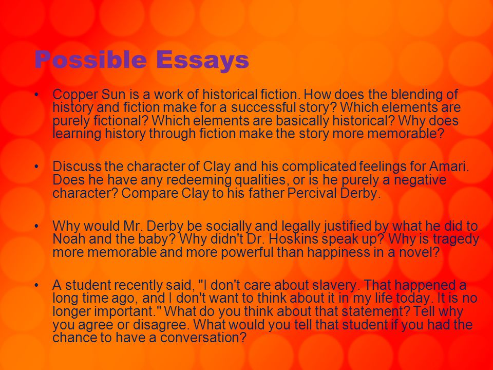 Possible Essays
