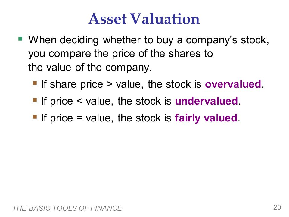 Asset Valuation Value of a share = PV of any dividends the stock will pay + PV of the price you get when you sell the share.