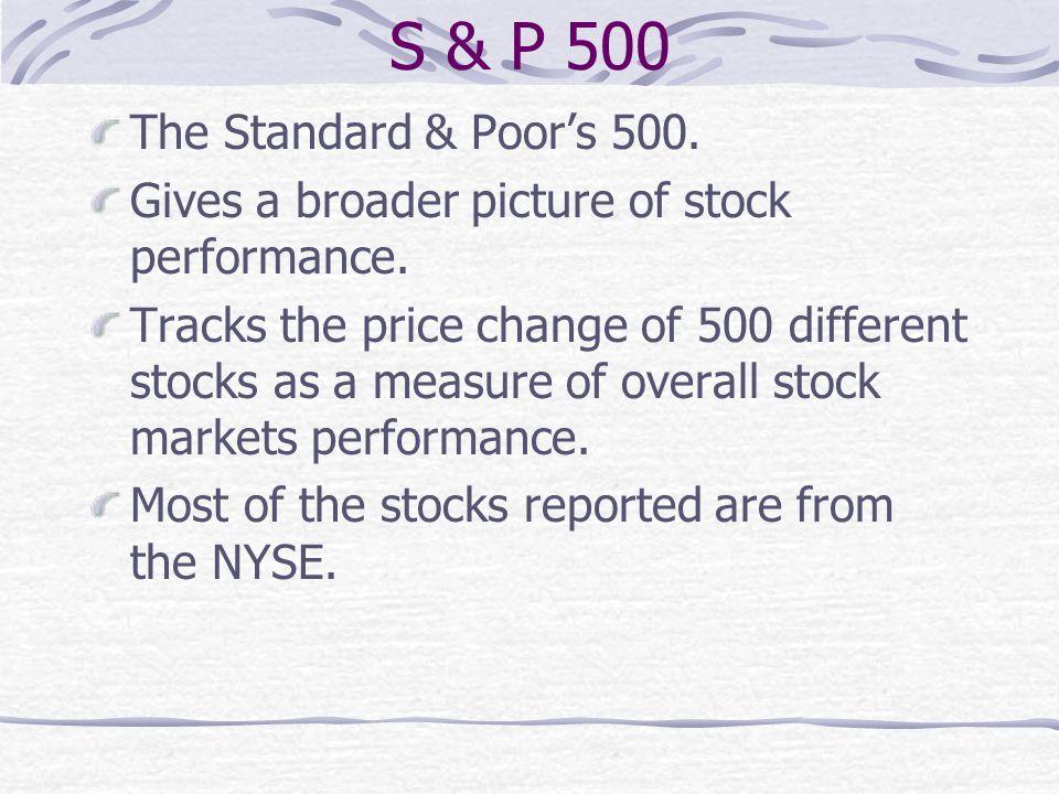 S & P 500 The Standard & Poor's 500.