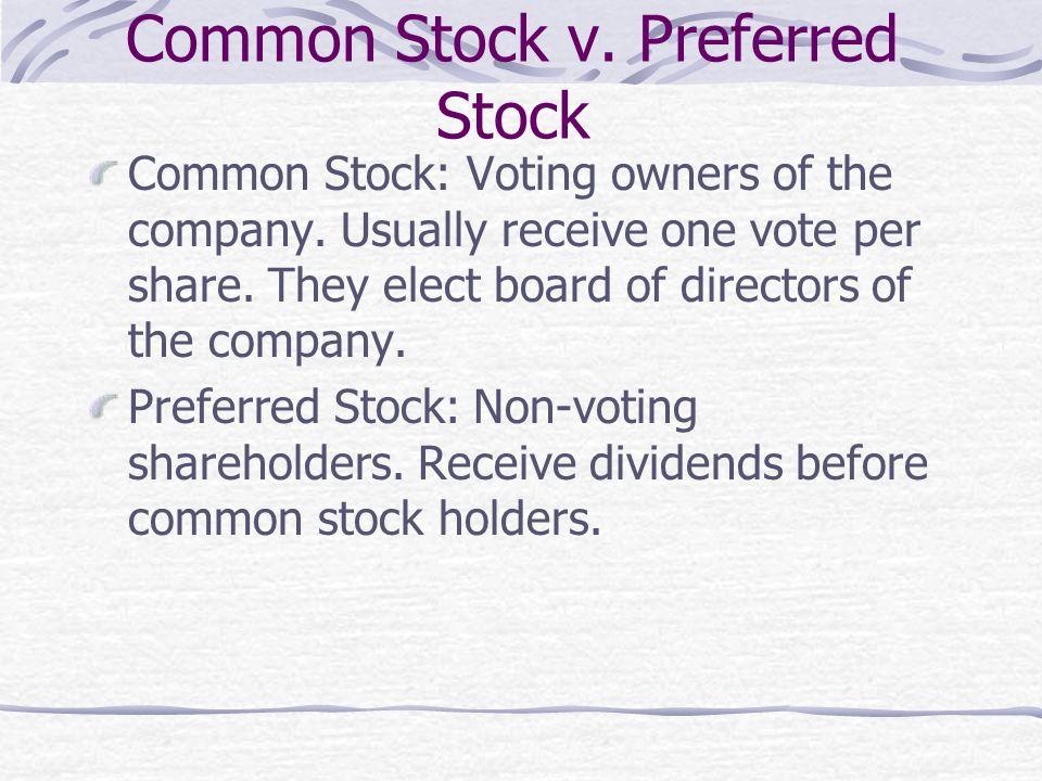 Common Stock v. Preferred Stock