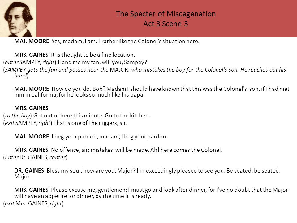 The Specter of Miscegenation Act 3 Scene 3