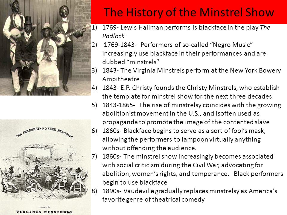 The History of the Minstrel Show