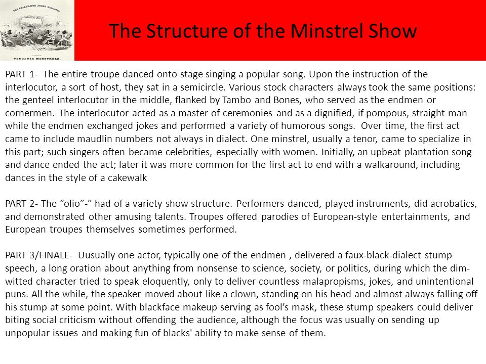 The Structure of the Minstrel Show