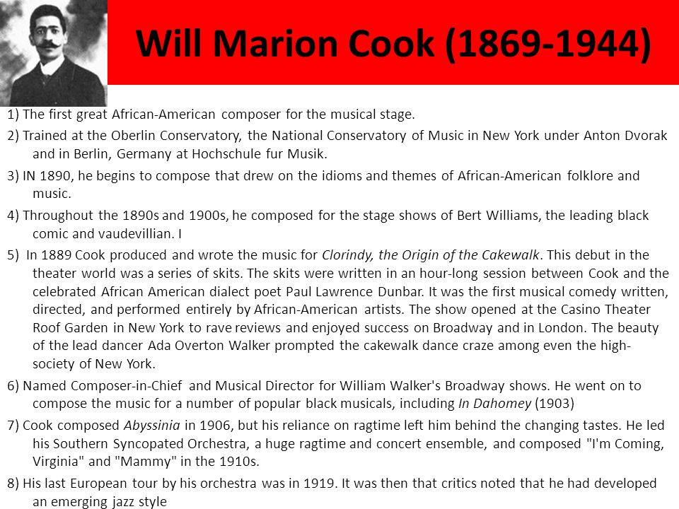 Will Marion Cook (1869-1944)