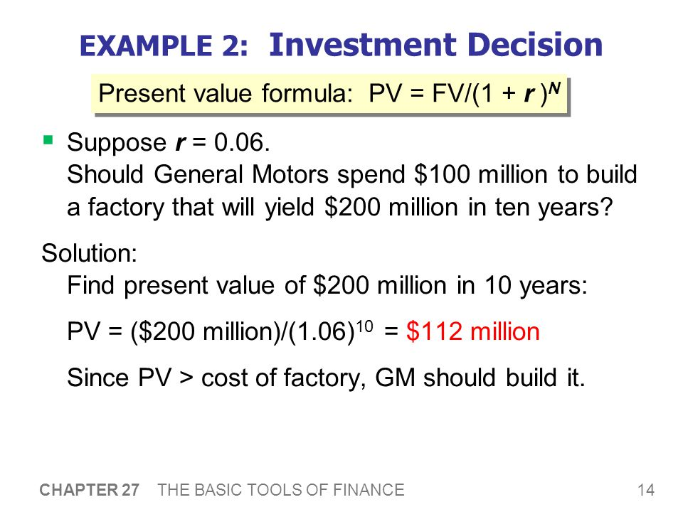 EXAMPLE 2: Investment Decision