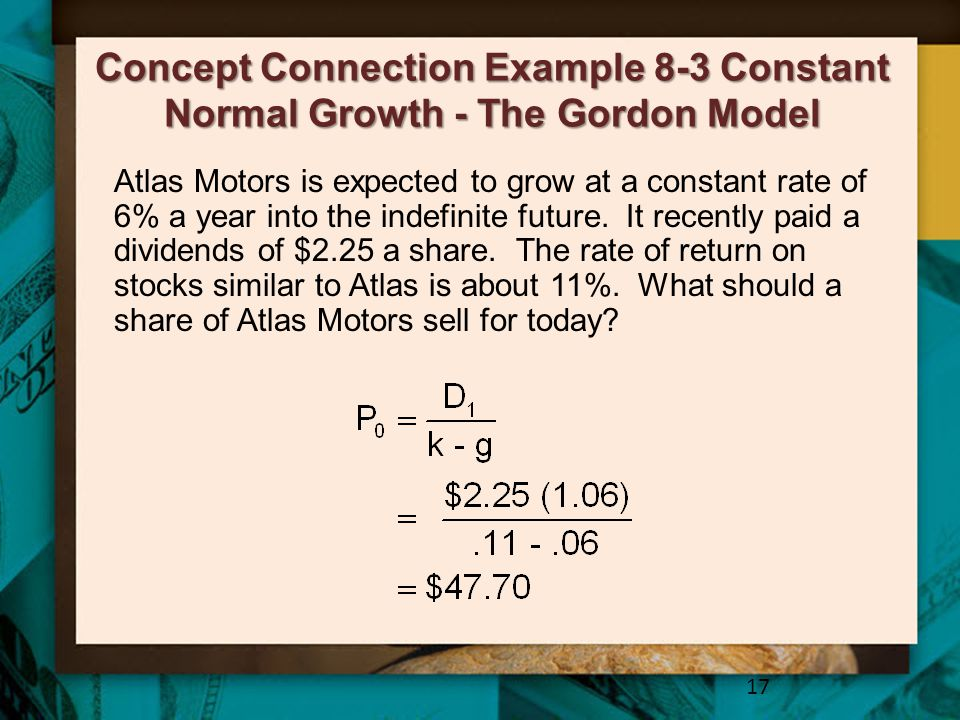 Concept Connection Example 8-3 Constant Normal Growth - The Gordon Model