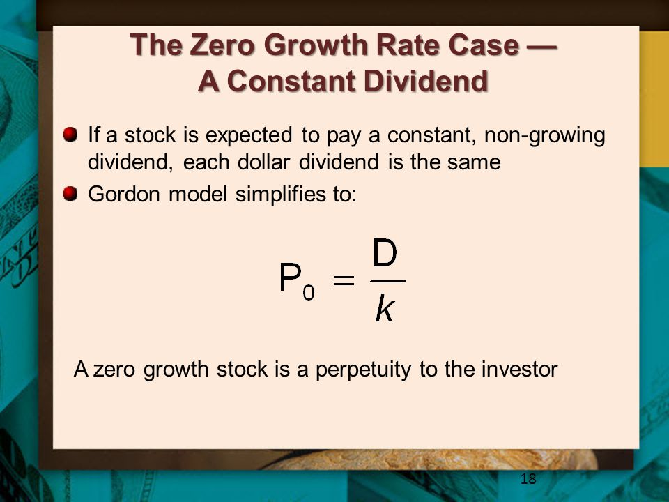 The Zero Growth Rate Case — A Constant Dividend