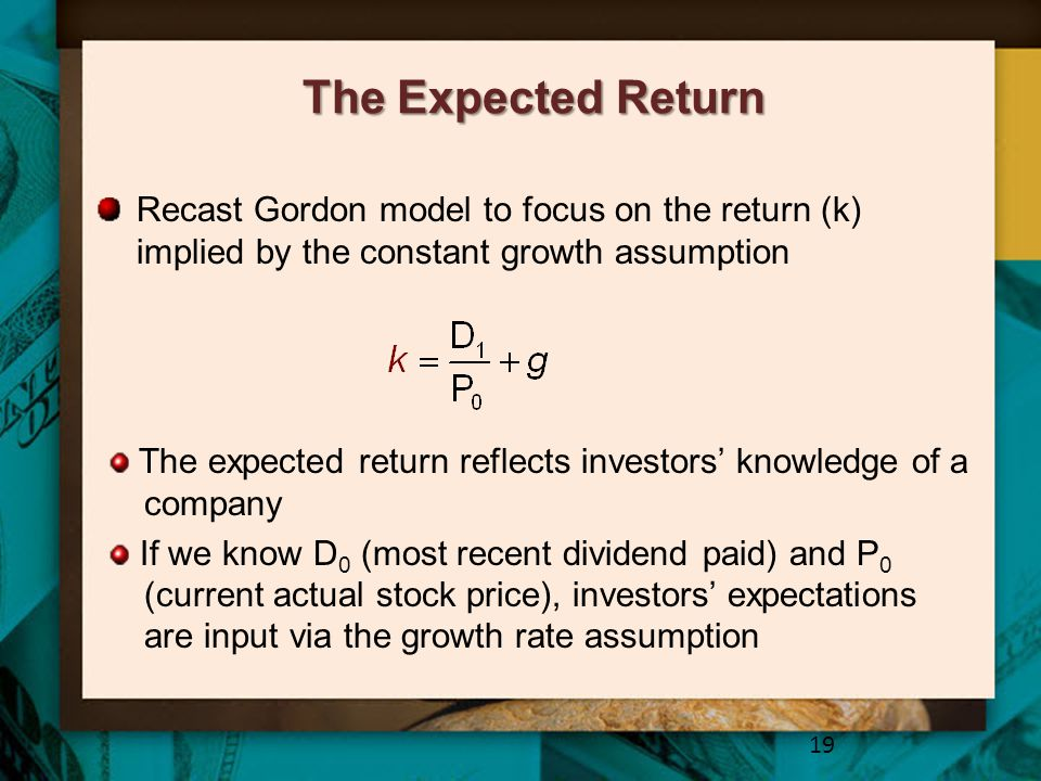 The Expected Return Recast Gordon model to focus on the return (k) implied by the constant growth assumption.