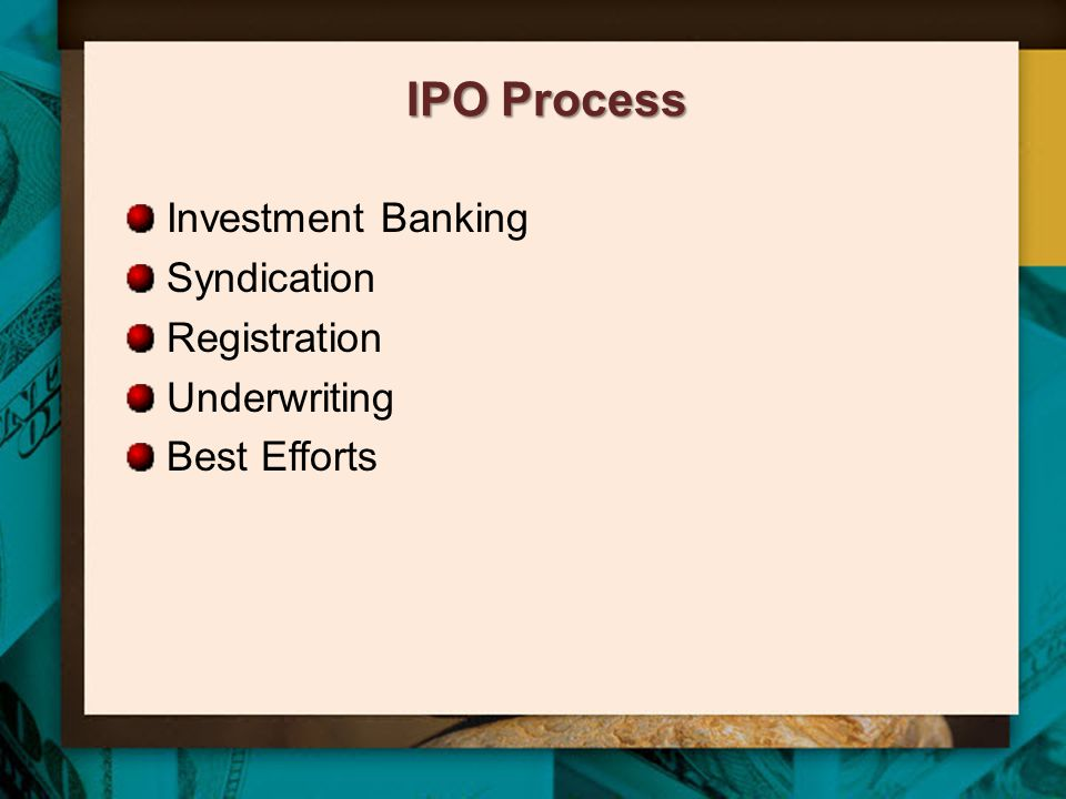 IPO Process Investment Banking Syndication Registration Underwriting