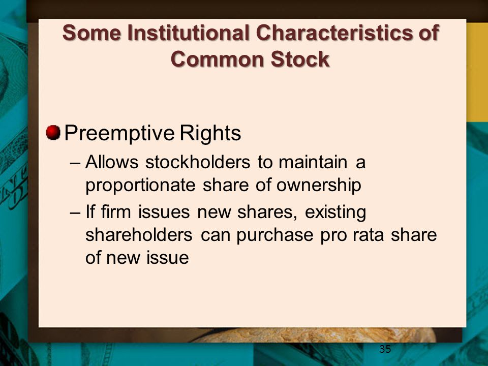 Some Institutional Characteristics of Common Stock