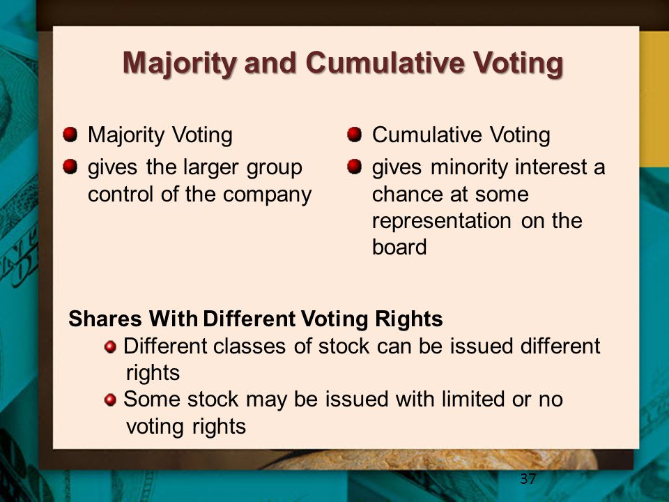 Majority and Cumulative Voting