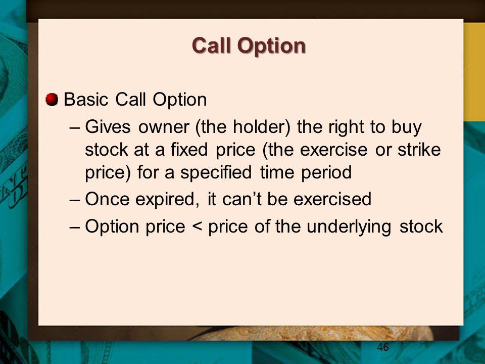 Call Option Basic Call Option