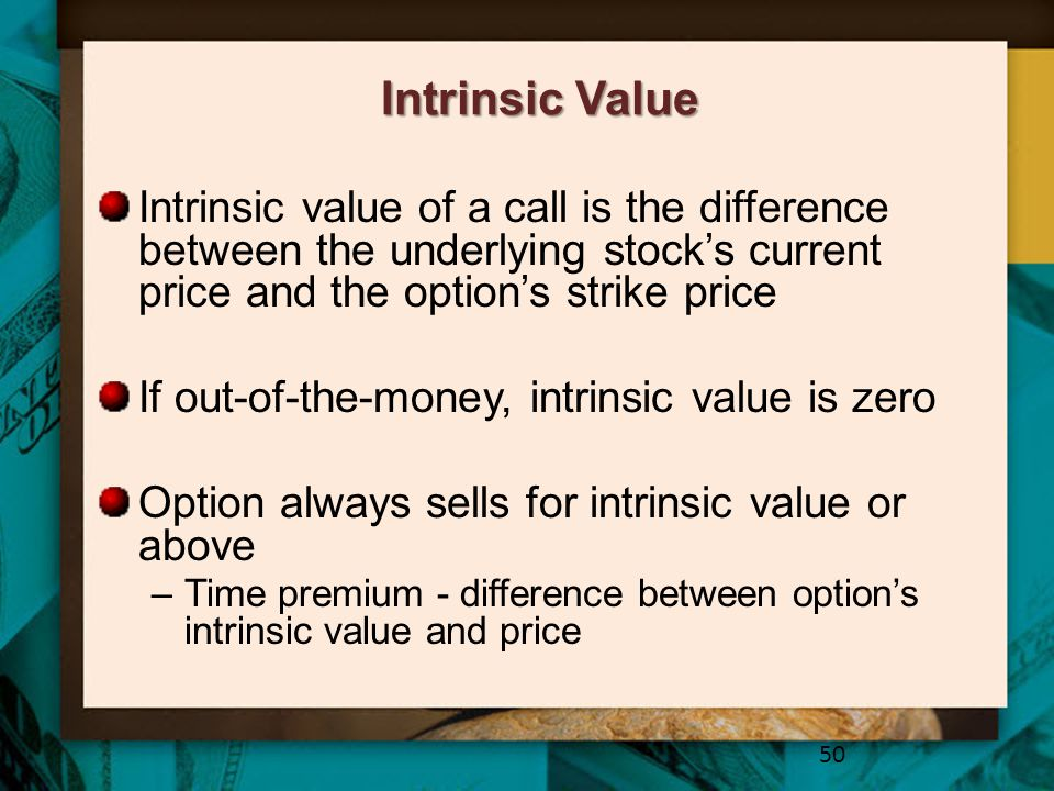 Intrinsic Value Intrinsic value of a call is the difference between the underlying stock's current price and the option's strike price.