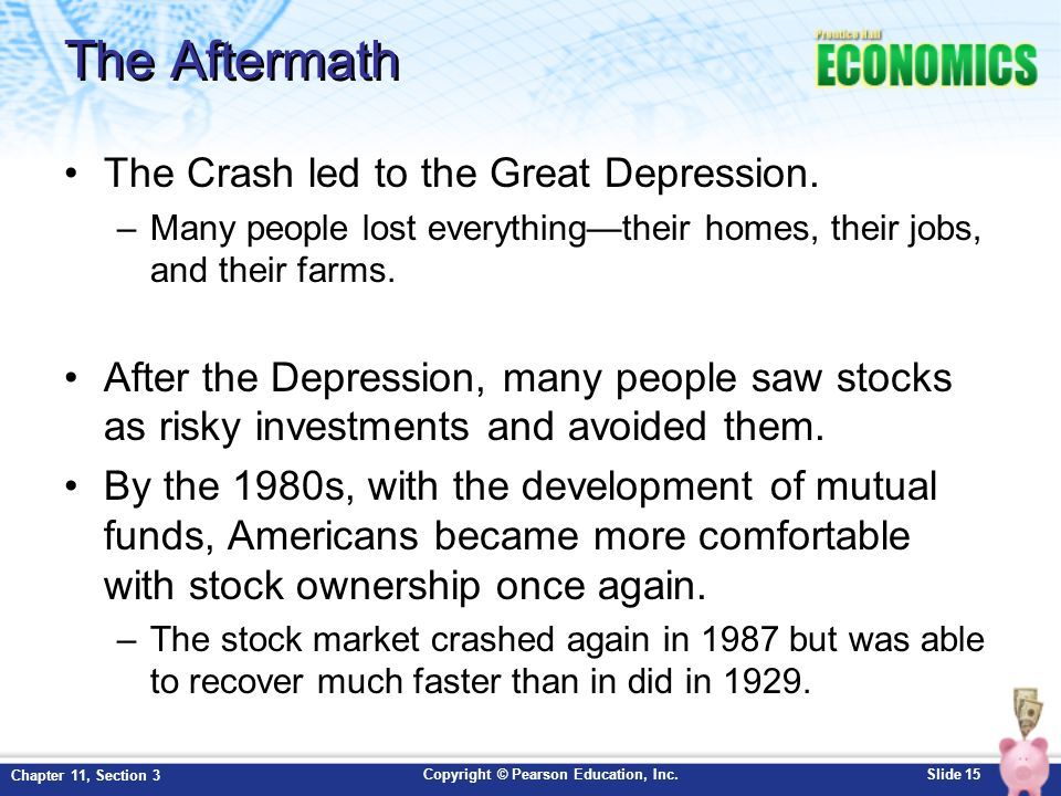 The Aftermath The Crash led to the Great Depression.