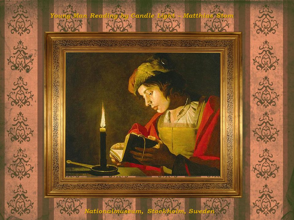 Young Man Reading by Candle Light – Matthias Stom