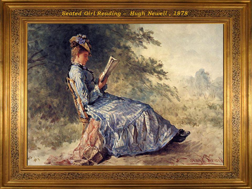 Seated Girl Reading – Hugh Newell , 1878