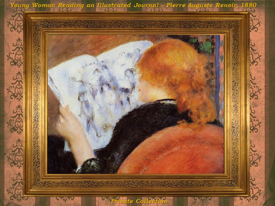 Young Woman Reading an Illustrated Journal – Pierre Auguste Renoir, 1880