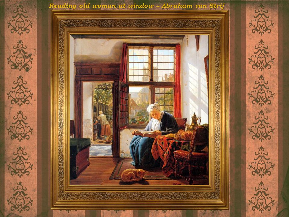Reading old woman at window – Abraham van Strij