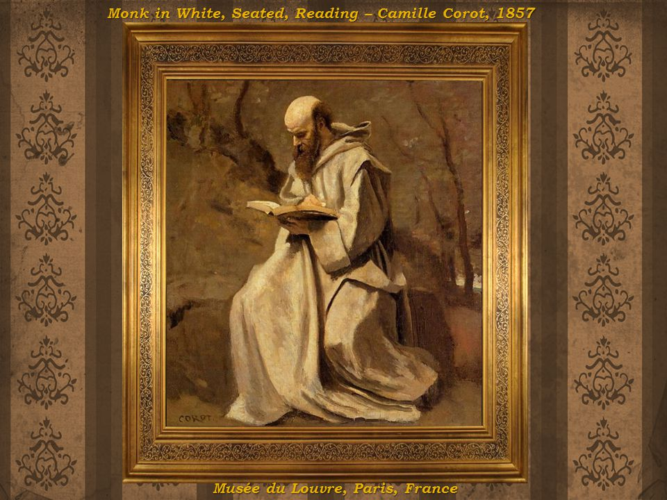 Monk in White, Seated, Reading – Camille Corot, 1857