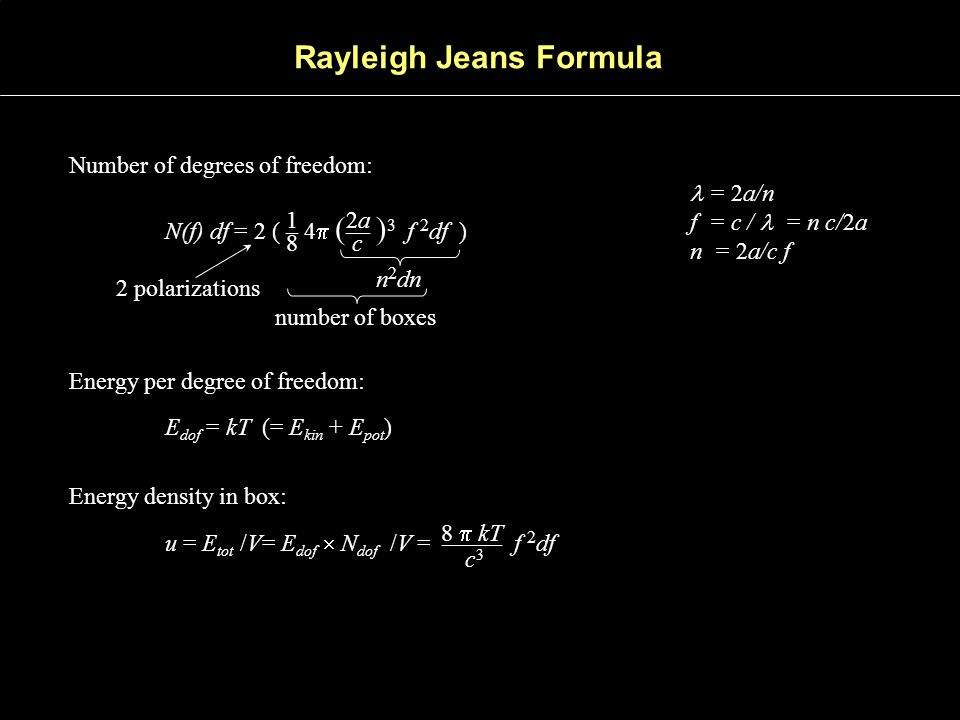 Rayleigh Jeans Formula