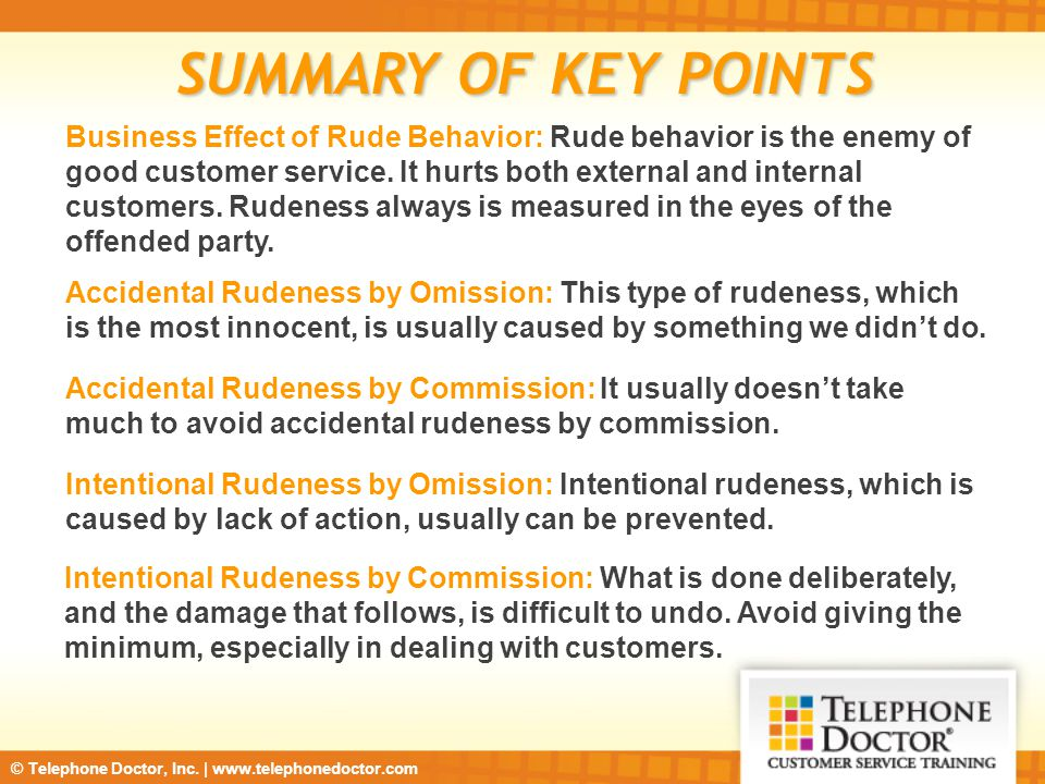 SUMMARY OF KEY POINTS