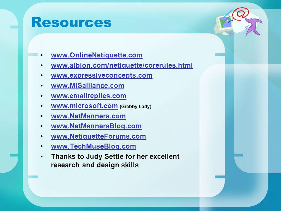 Resources www.OnlineNetiquette.com