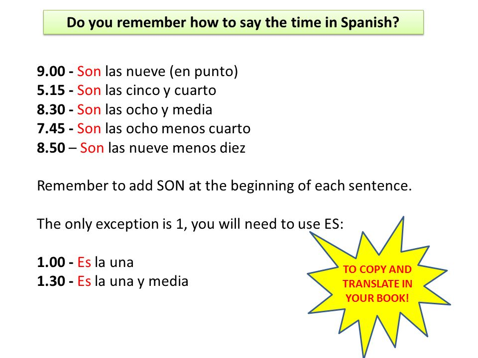 Do you remember how to say the time in Spanish