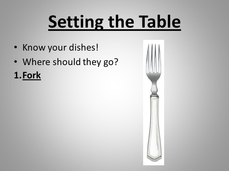 Setting the Table Know your dishes! Where should they go Fork