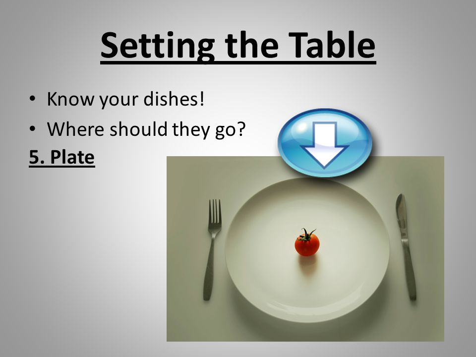 Setting the Table Know your dishes! Where should they go 5. Plate