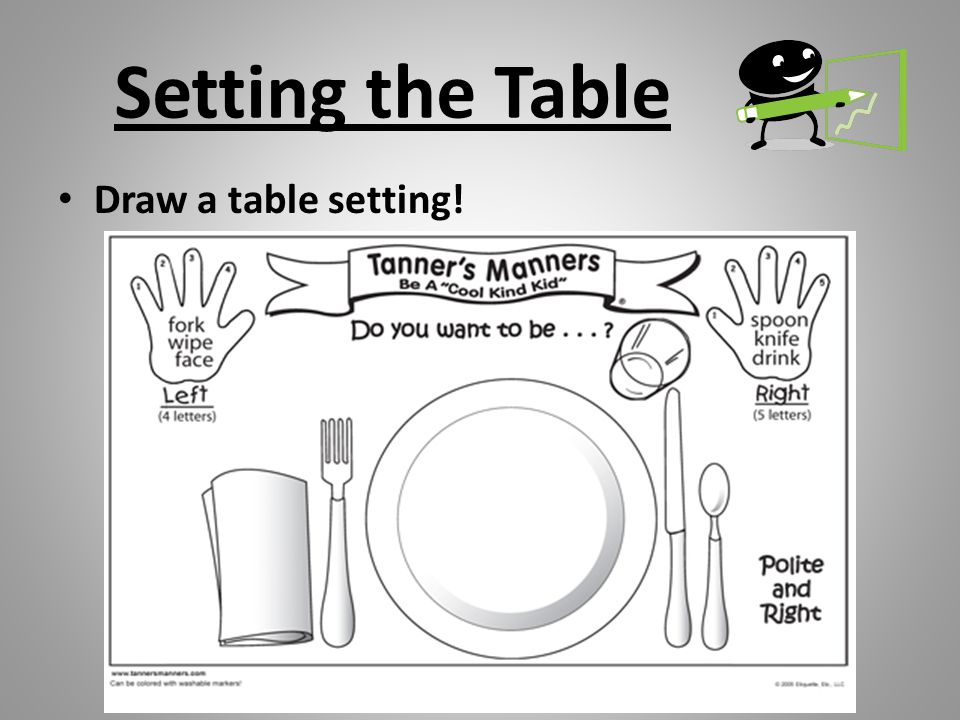 Setting the Table Draw a table setting!