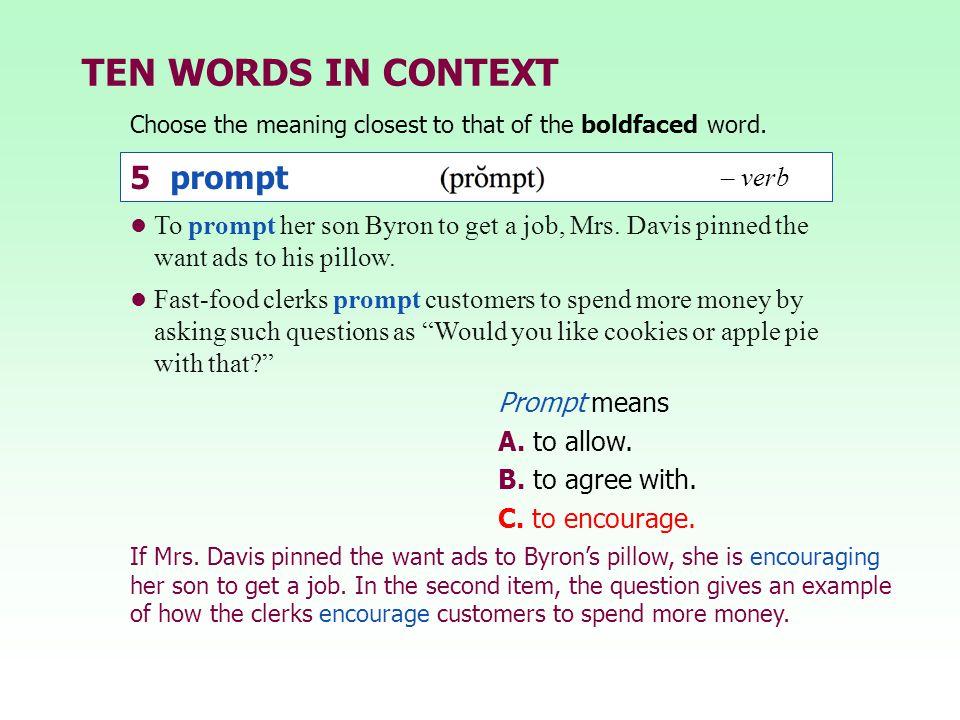 TEN WORDS IN CONTEXT 5 prompt – verb