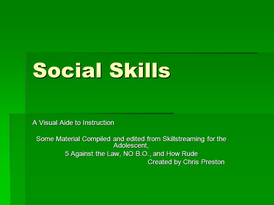 Social Skills A Visual Aide to Instruction