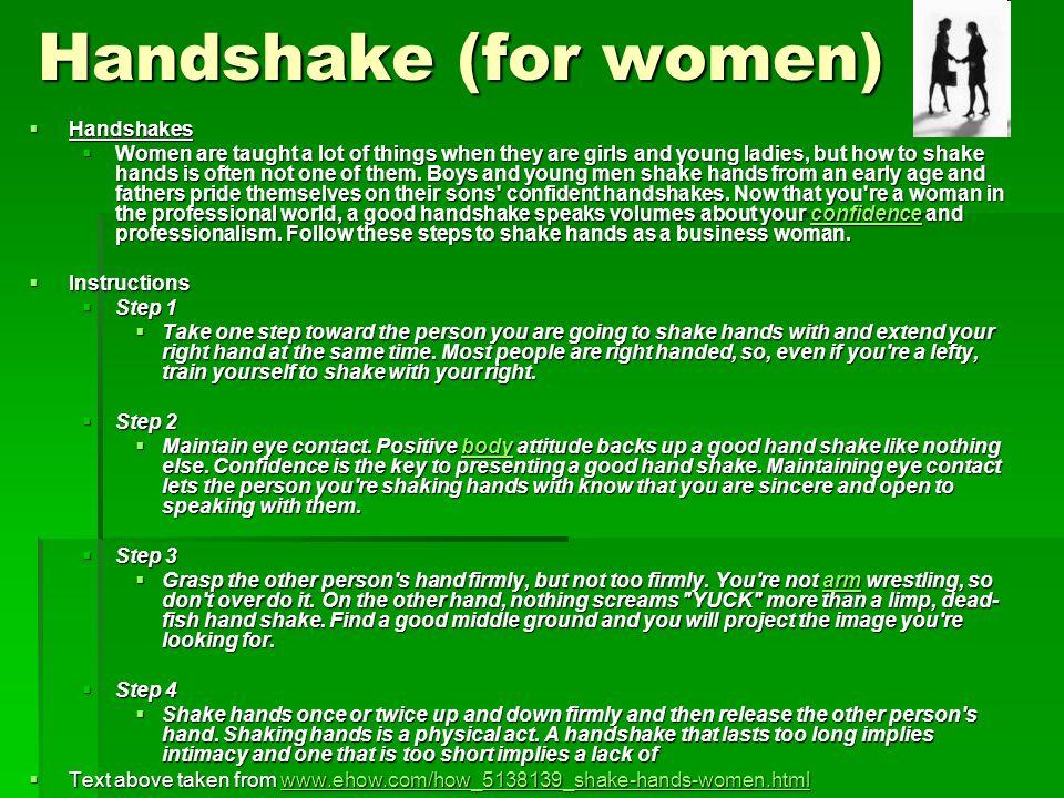 Handshake (for women) Handshakes