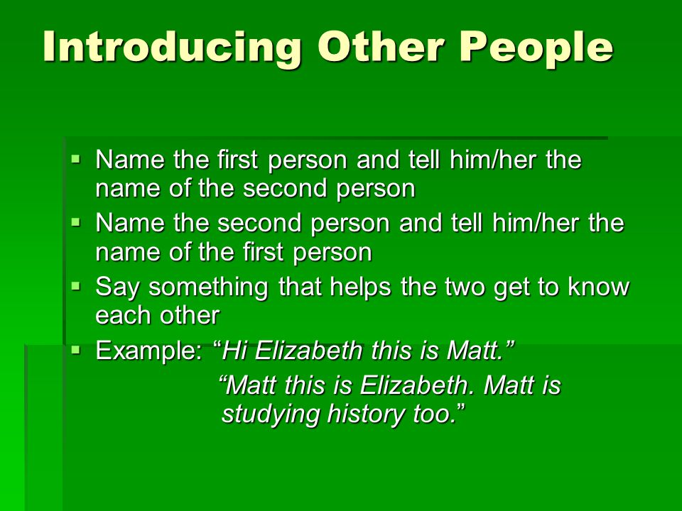 Introducing Other People