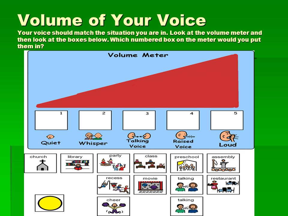 Volume of Your Voice Your voice should match the situation you are in