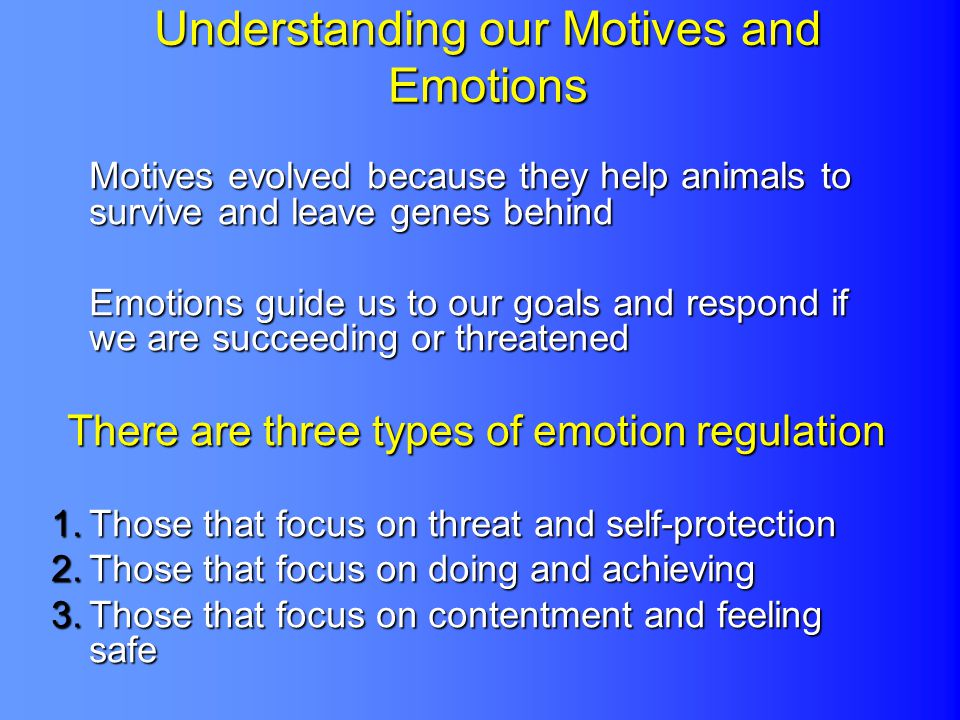 Understanding our Motives and Emotions