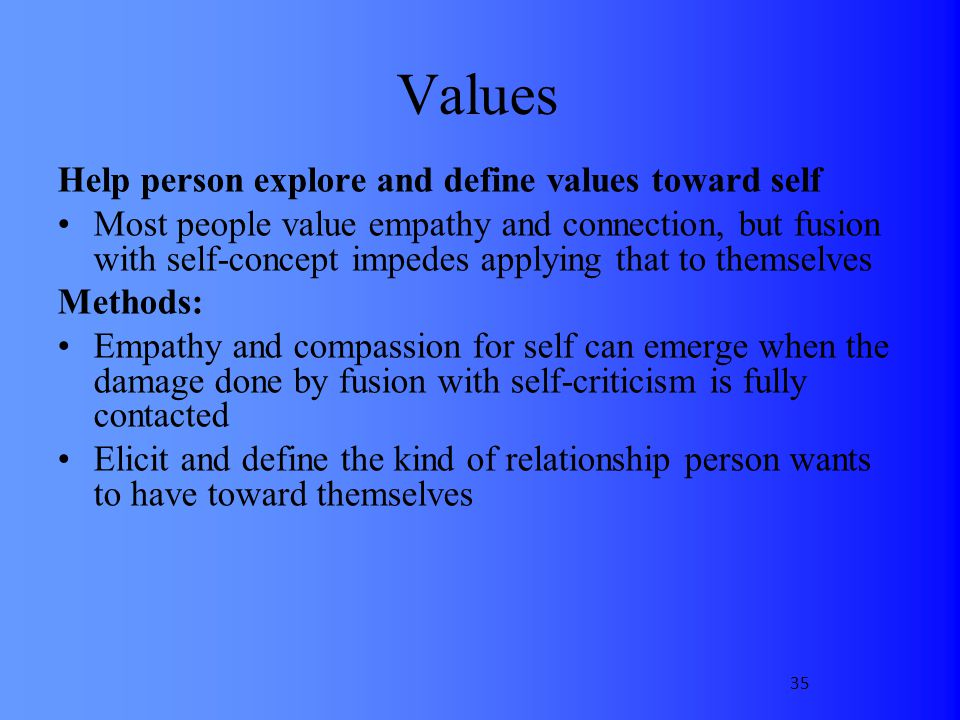 Values Help person explore and define values toward self