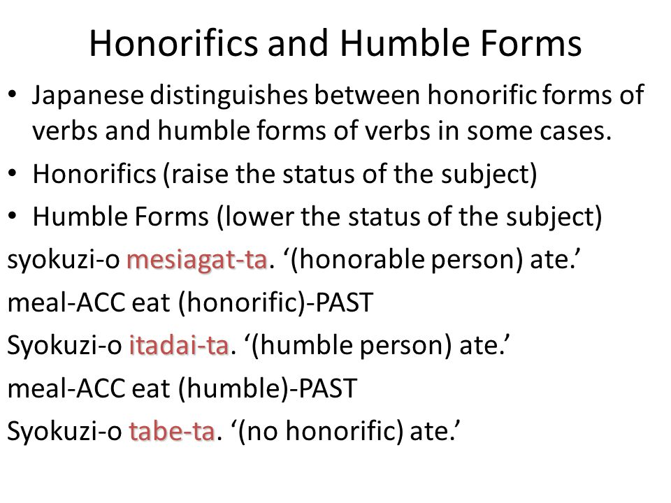 Honorifics and Humble Forms